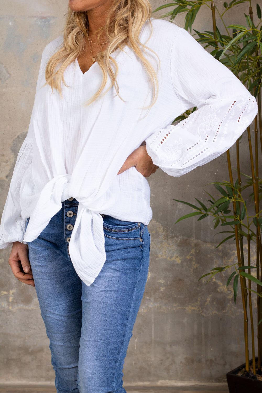 Amber tunic - Embroidery & Knit - White