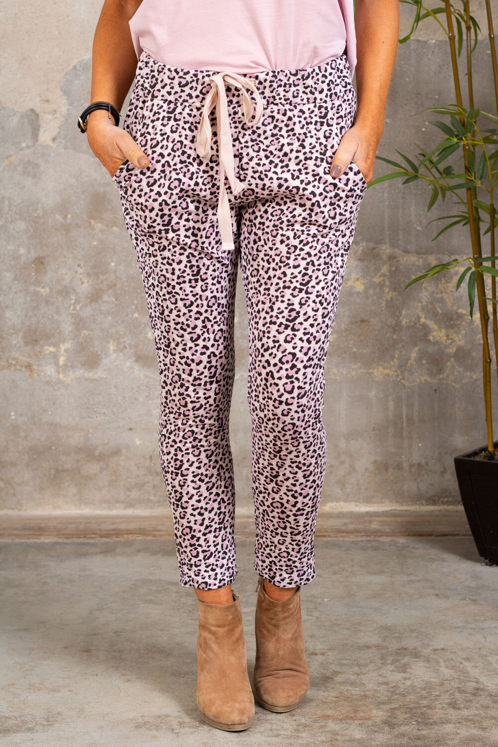 Ankle-length soft pants - Leo - Pink