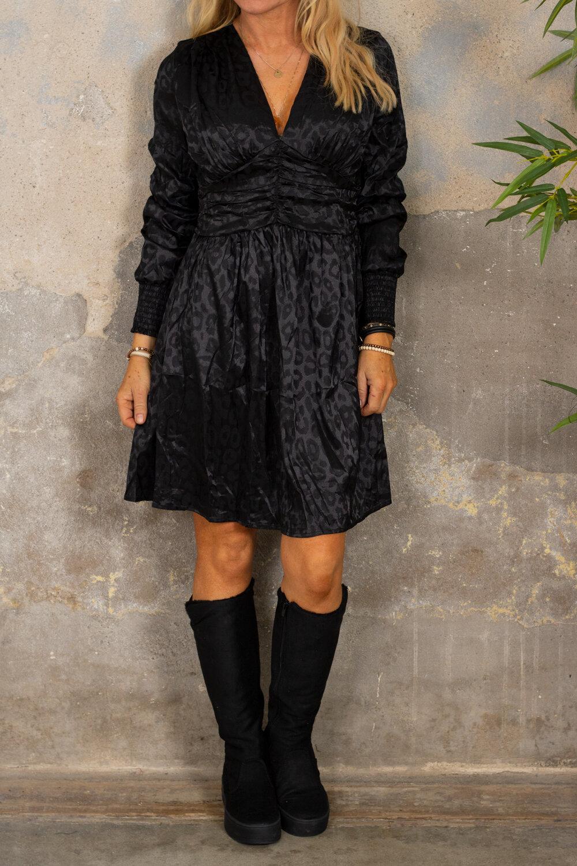 Antonia dress - Leopard pattern- Black