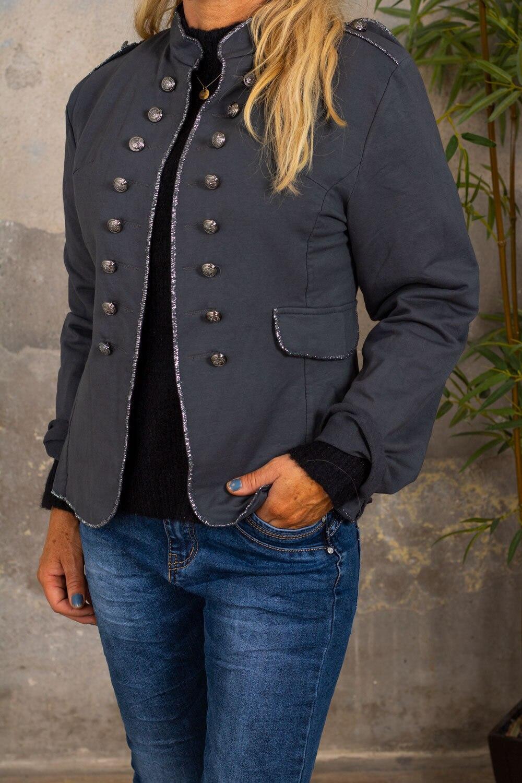 Army jacket - Glitter edges - Dark gray