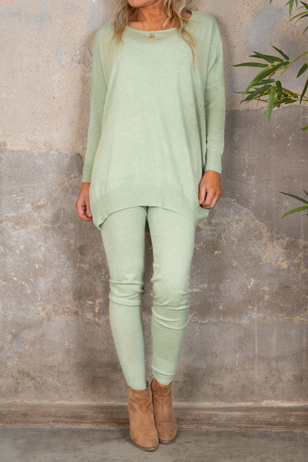 Brittany - Knitted set - Sweater and Trousers -Mint green