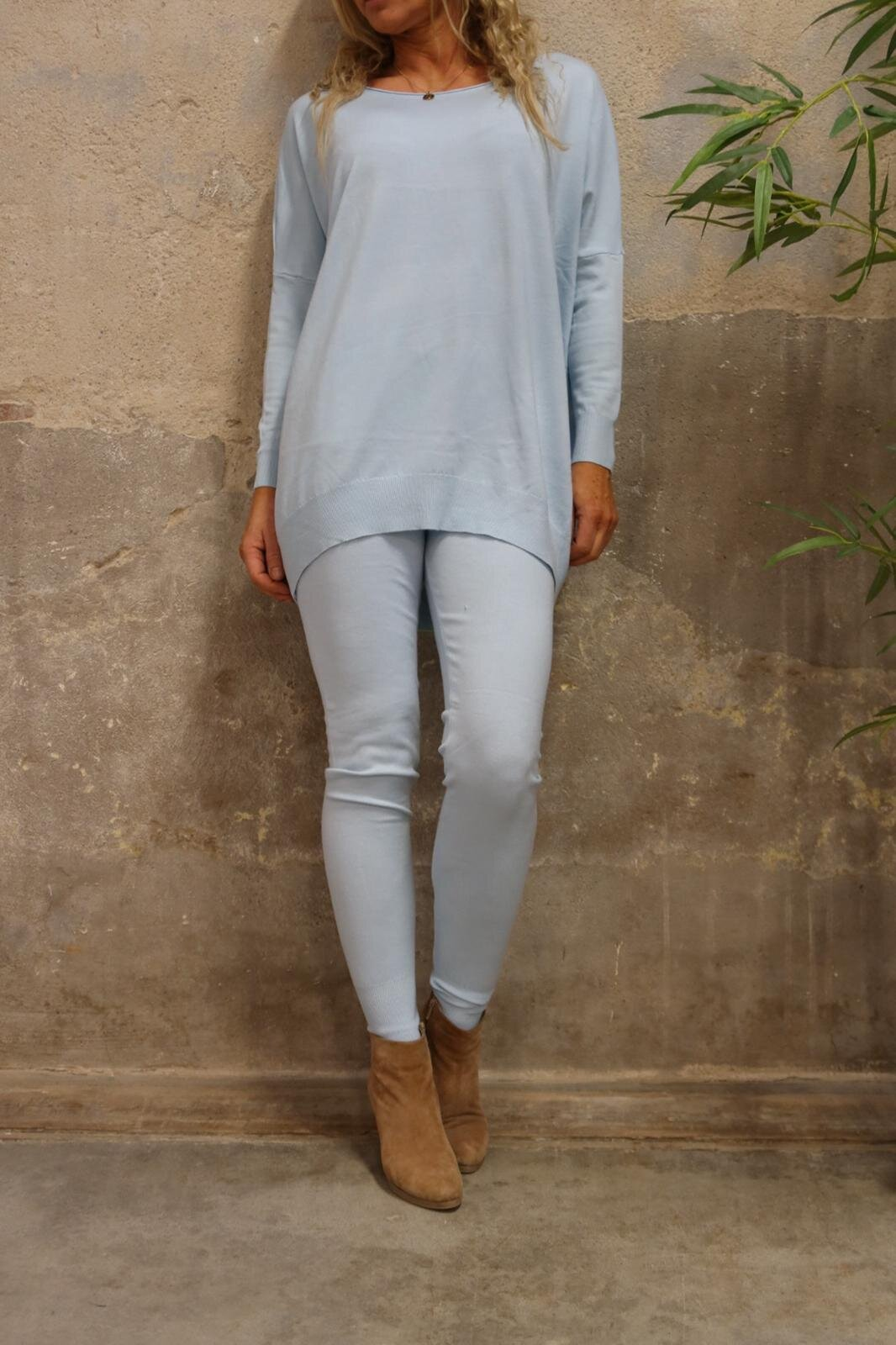 Brittany - Knitted set - Sweater and Trousers -Light blue