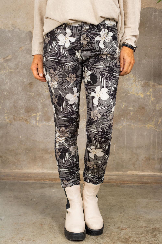 Pants 90089 - Flowers & Leaves - Gray
