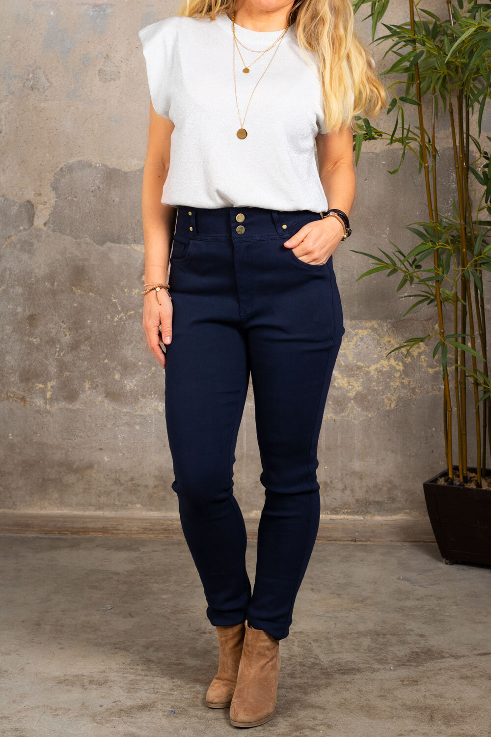Trousers with Gold Details - NL83045 - Navy