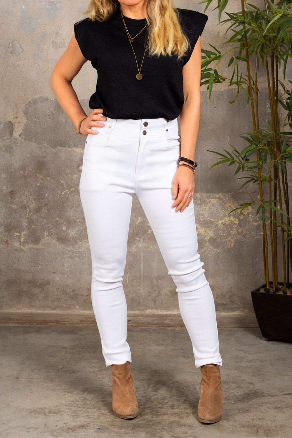 Trousers with Gold Details - NL83045 - White