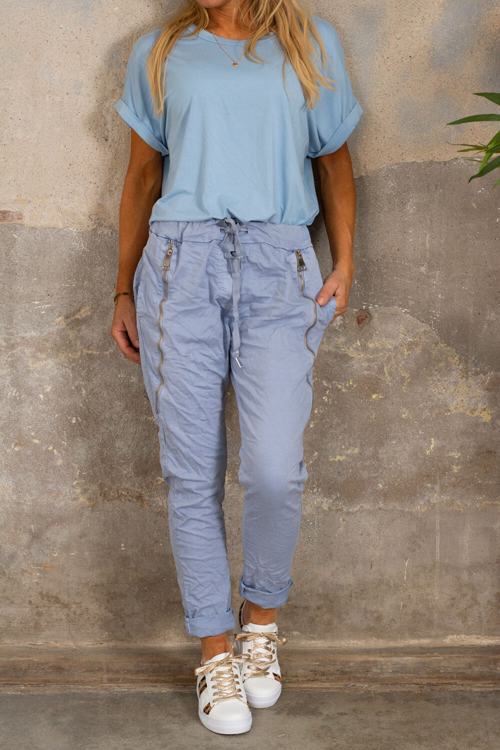 Pants with zippers - Dusty Blue