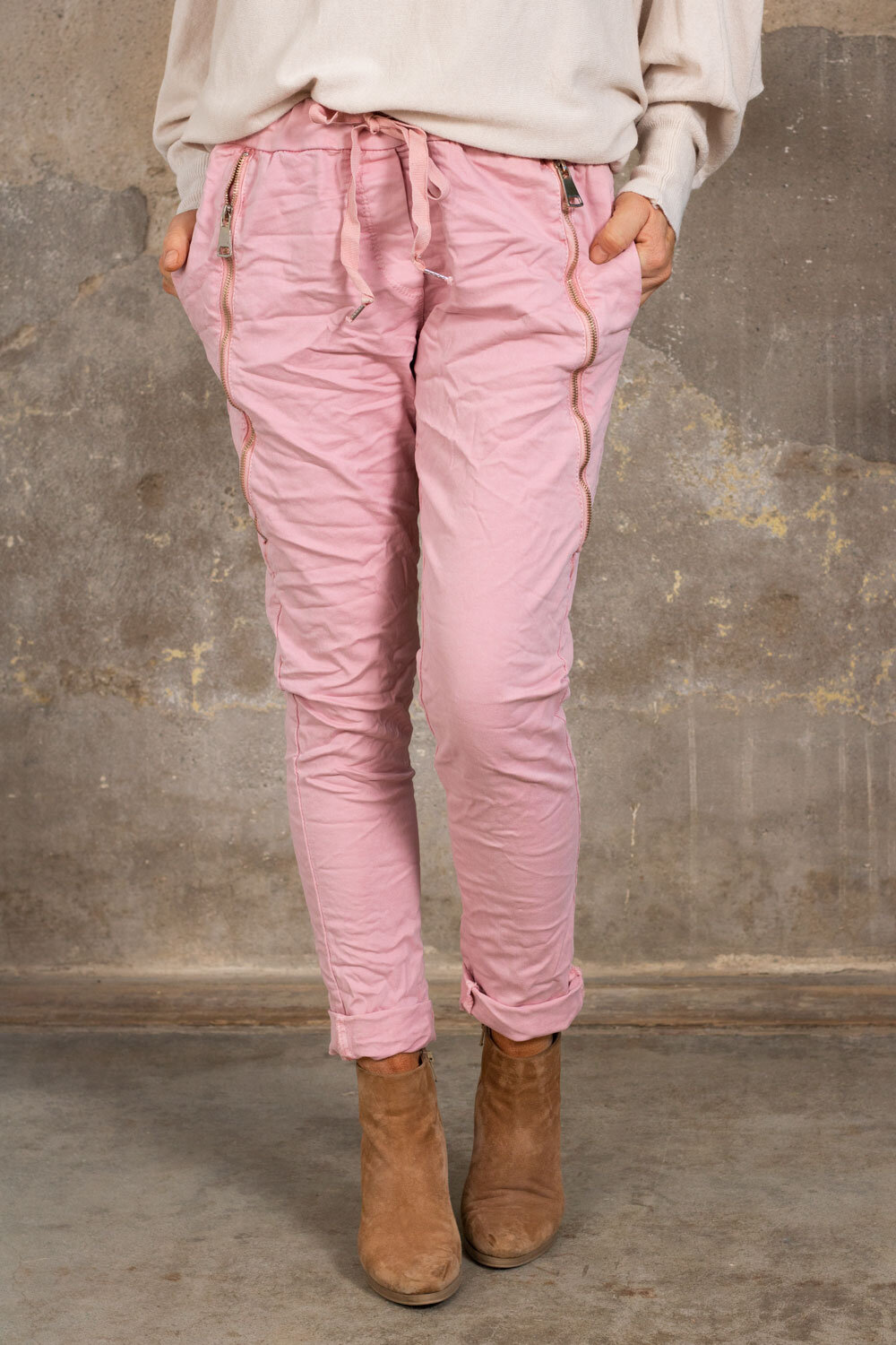 Pants with zippers - Pink