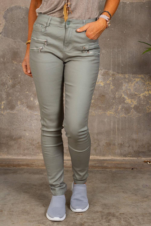 Waxed trousers CL1503 - Zippers - Ljus Khaki