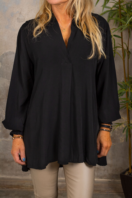 Carla V-neck Blouse - Black
