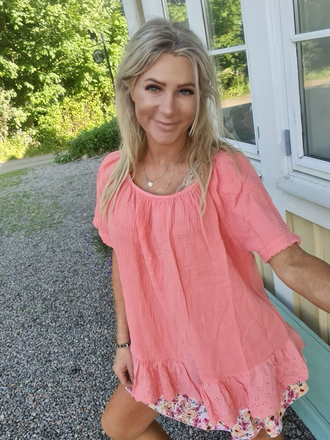 Christa top - Lace & Waffle - Peach