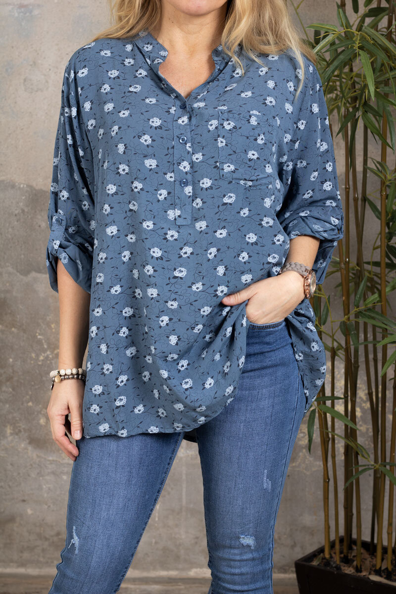 Cora Blouse - Small flowers - Blue