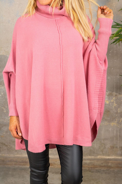 Darlene Poncho - Polo Collar - Pink