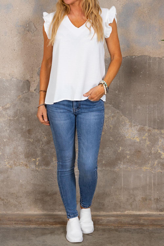 Denise top - Butterfly sleeve - Cream