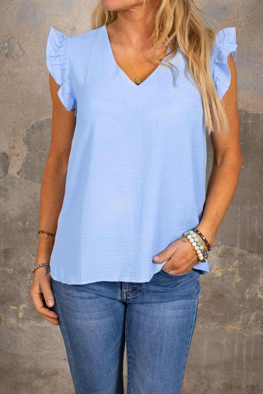 Denise top - Butterfly sleeve - Blue