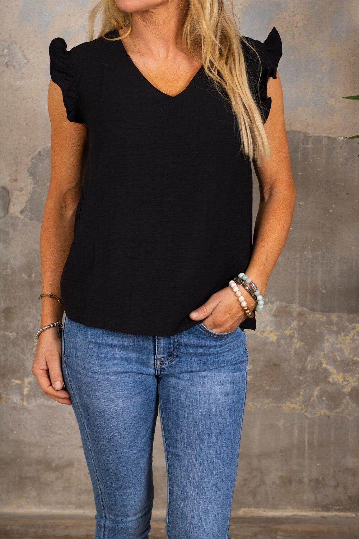 Denise top - Butterfly sleeve - Black