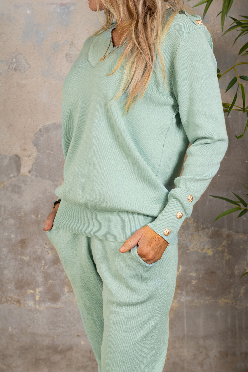 Ebba knitted set - Buttons - Lagoon