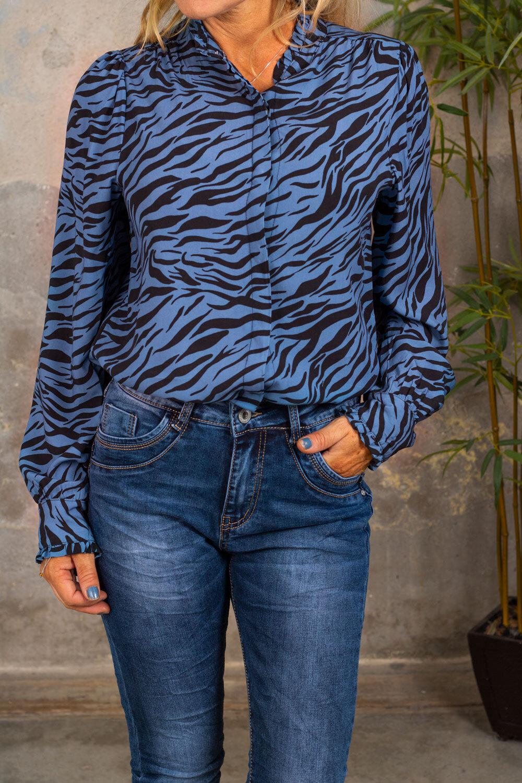 Elaine Blouse - Zebra & Ruffles - Blue
