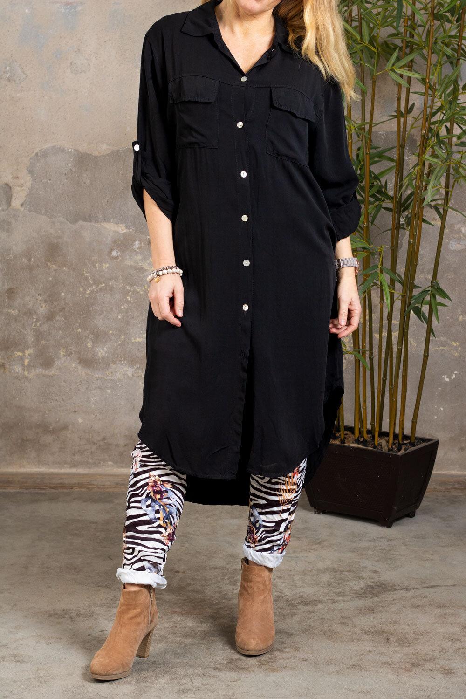 Elaine long shirt - Chest pockets - Black
