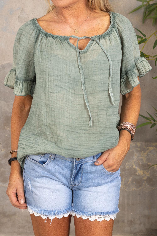 Emmie Blouse - With tie - Khaki