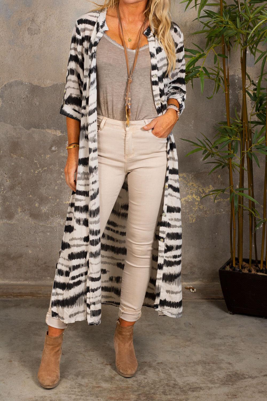 Felicia Long Shirt - Zebra - Beige