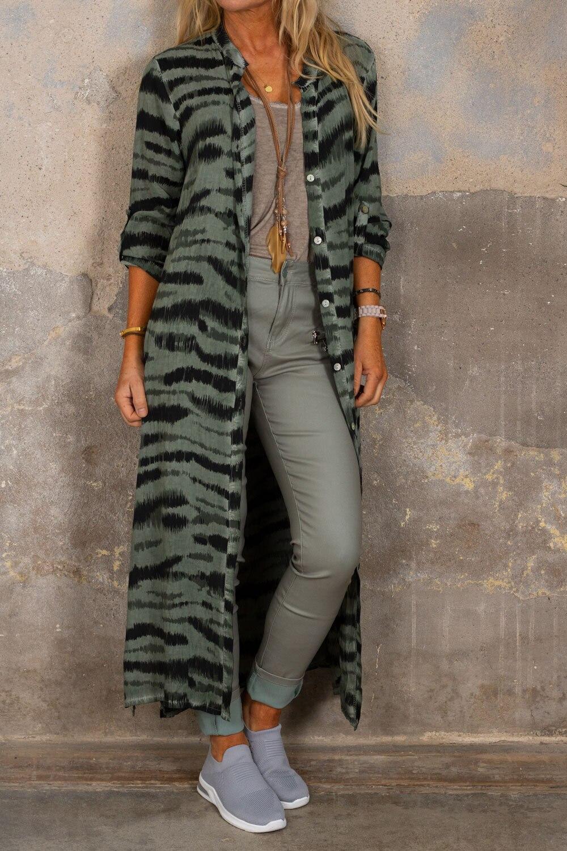 Felicia Long Shirt - Zebra - Khaki