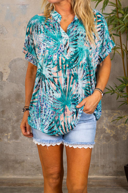 Frida soft tunic - Patterned - Aqua
