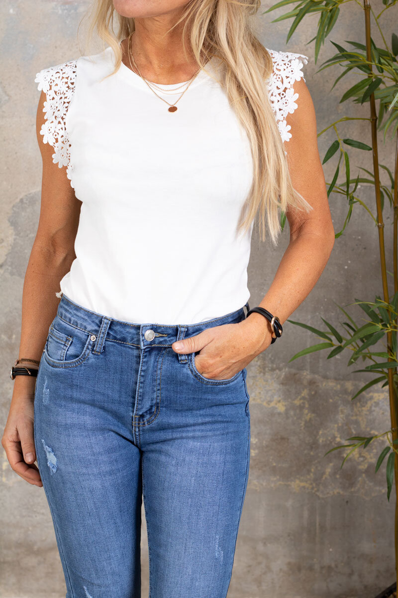 Giselle Top - Lace Sleeve - Cream