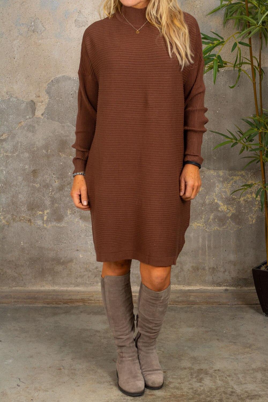 Gunilla Rib knit dress - Choco