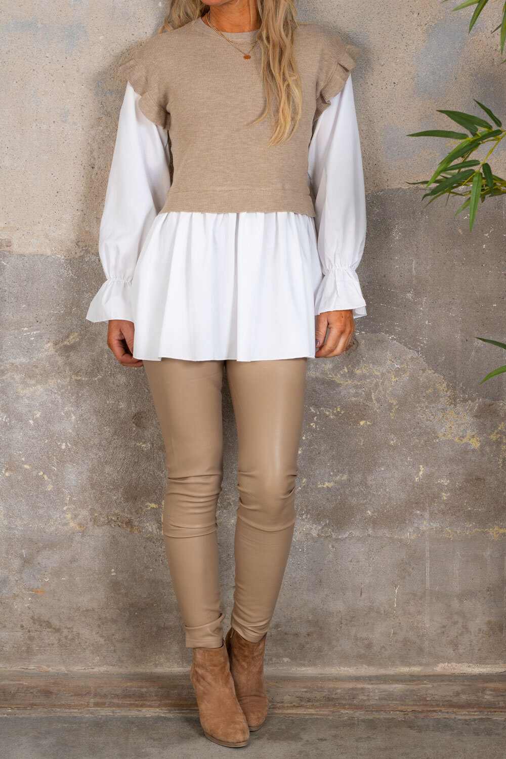 Gwen - Sweater with Blouse - Taupe