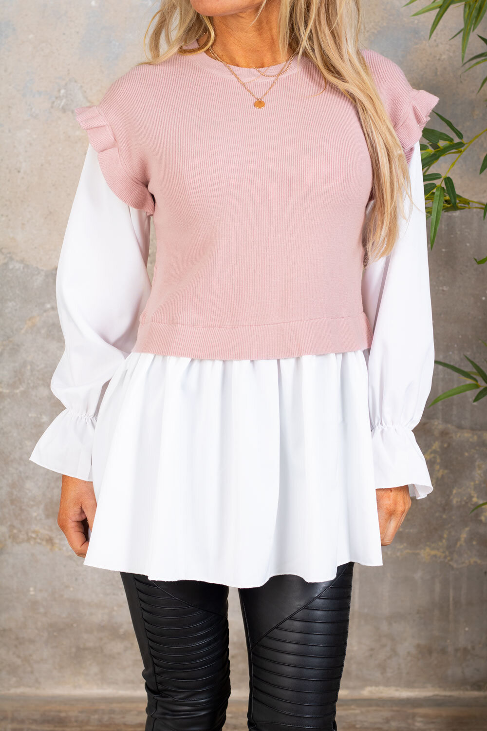 Gwen - Sweater with Blouse - Pink