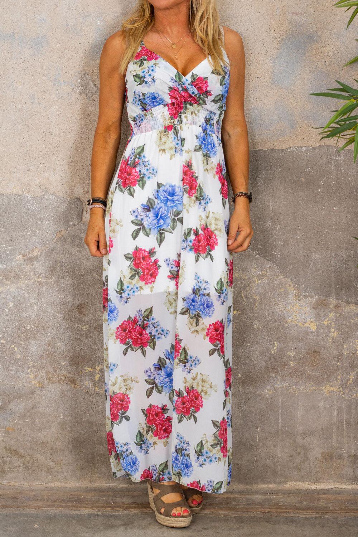 Hilma Long Dress - Smock & Floral - White
