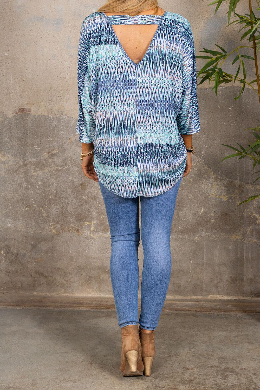 Isadora Top - Patterned - Blue