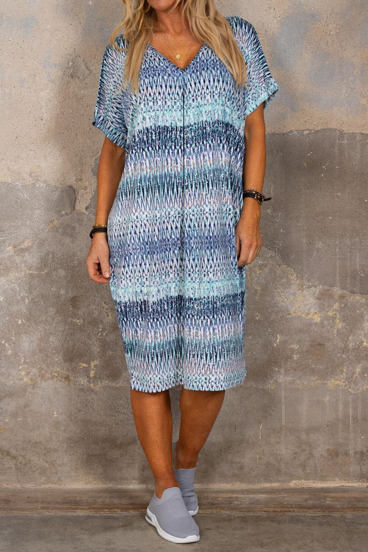 Isadora V-neck dress - Patterned - Blue