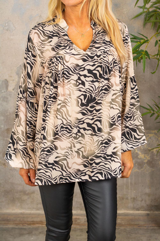 Janna Animal blouse - Beige / Black