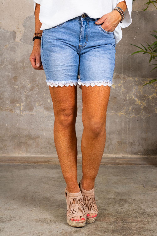 Jeans shorts - Lace - S26167 - Light wash