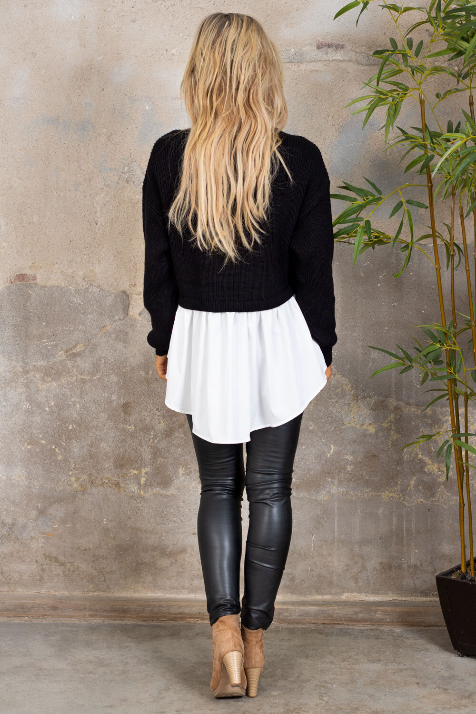 Jenny sweater - Shirt at the bottom - Black