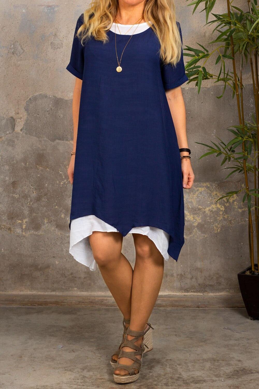 Jolie short-sleeved dress - Navy / Cream