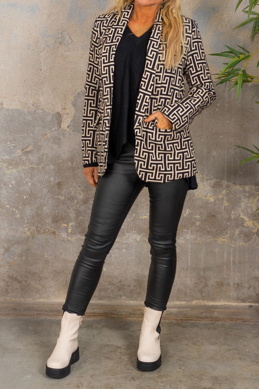 Jacket - Greek pattern - Black / Beige