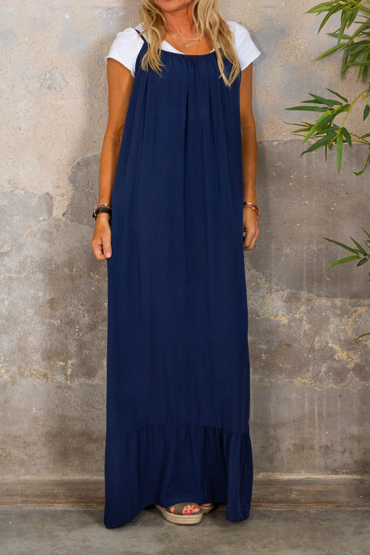 Kelsie long dress - V-neck back - Navy