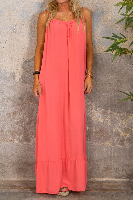 Kelsie long dress - V-neck back - Corall