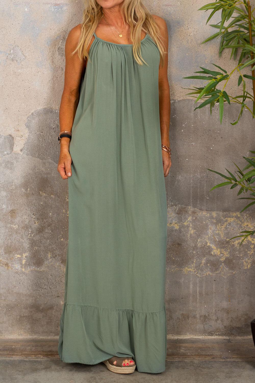Kelsie long dress - V-neck back - Khaki