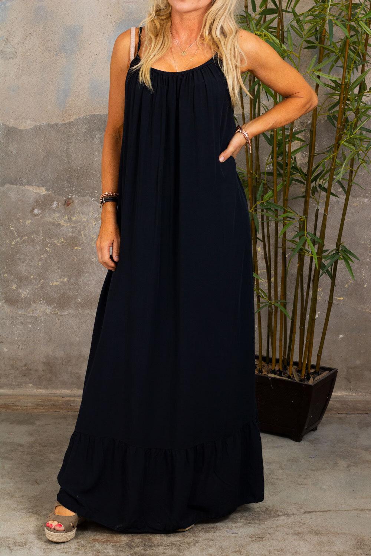 Kelsie long dress - V-neck back - Black