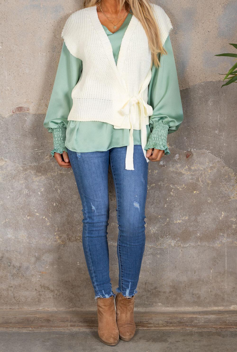 Kendra Knitted vest - Tie - Cream