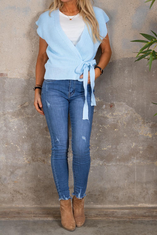 Kendra Knitted vest - Tie - Sky blue