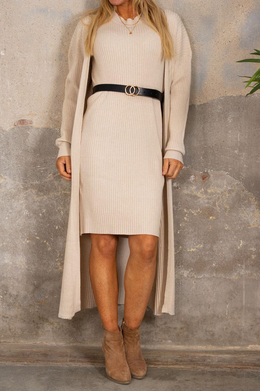 Dress set with Belt - Beige