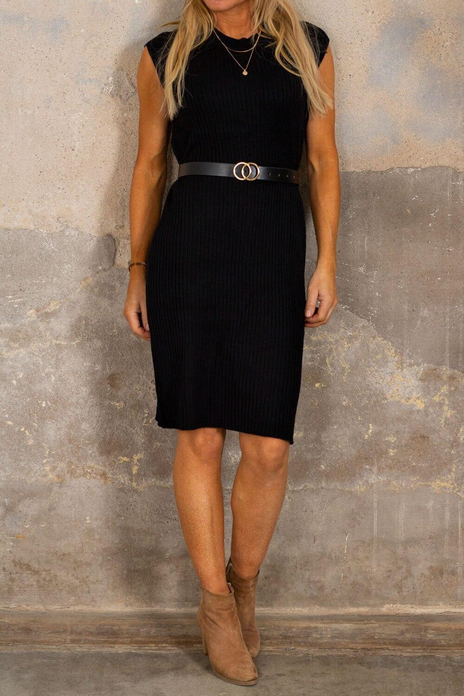 Dress set with Belt - Black