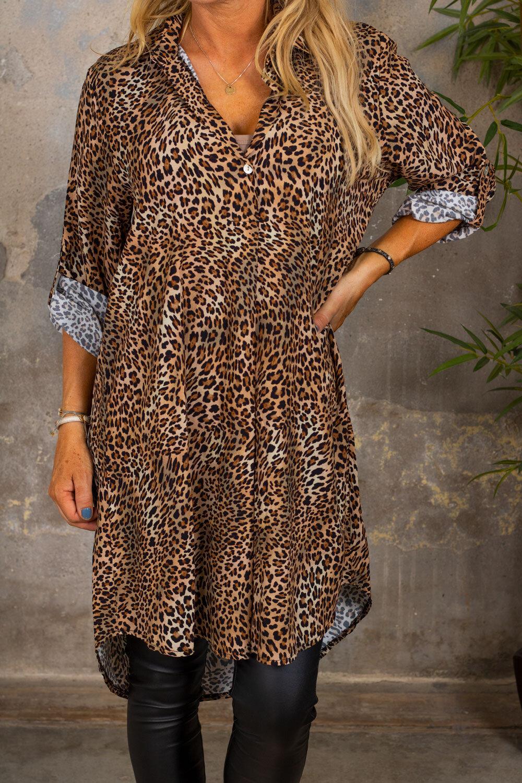 Kourtney Long Shirt - Leo Pattern - Brown