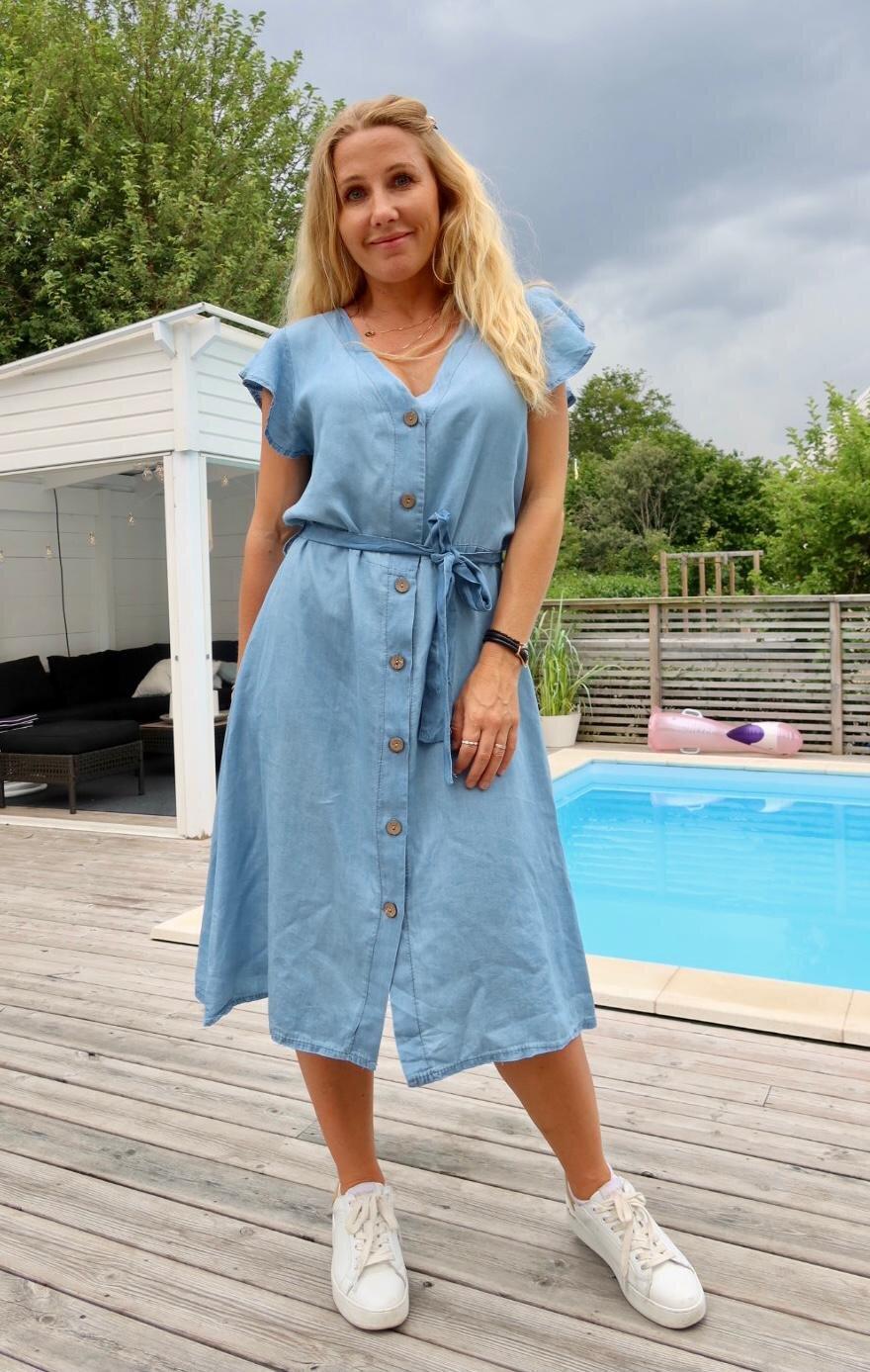 Laurel Jeans Dress - Buttons & Tie - Light Wash