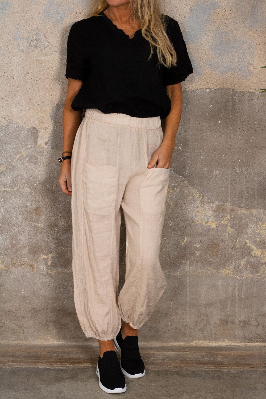 Linen pants - Pockets - Sand