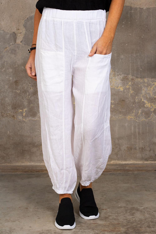 Linen pants - Pockets - White